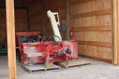Snowblower in shed April 28