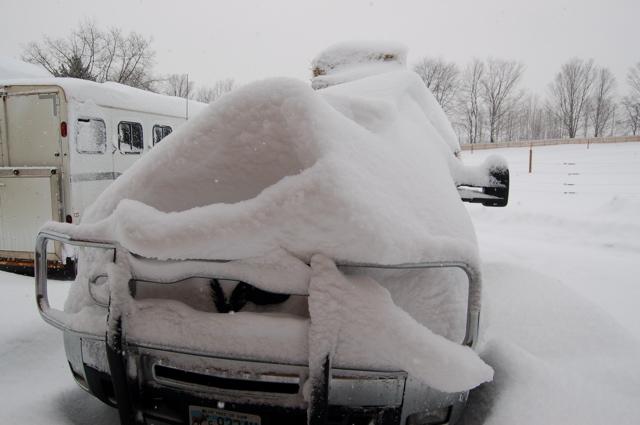 Truck under snow 1