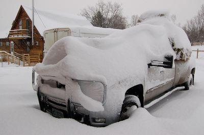 Truck under snow 2