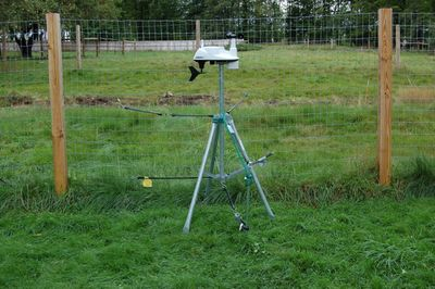 Weather station strapped down