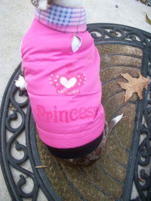 Lucy's pink coat