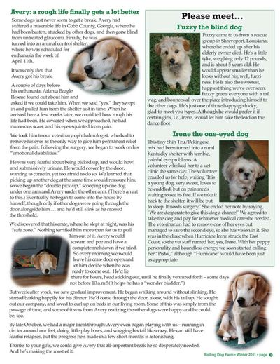 Avery's story from newsletter