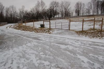 Ice on drive and pasture