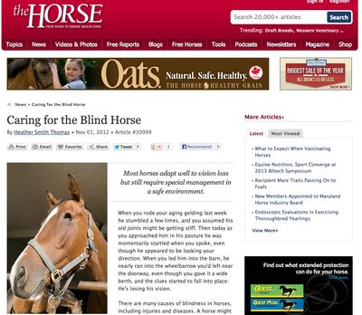 The Horse article on blind horses