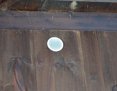 Air vent in goat barn wall